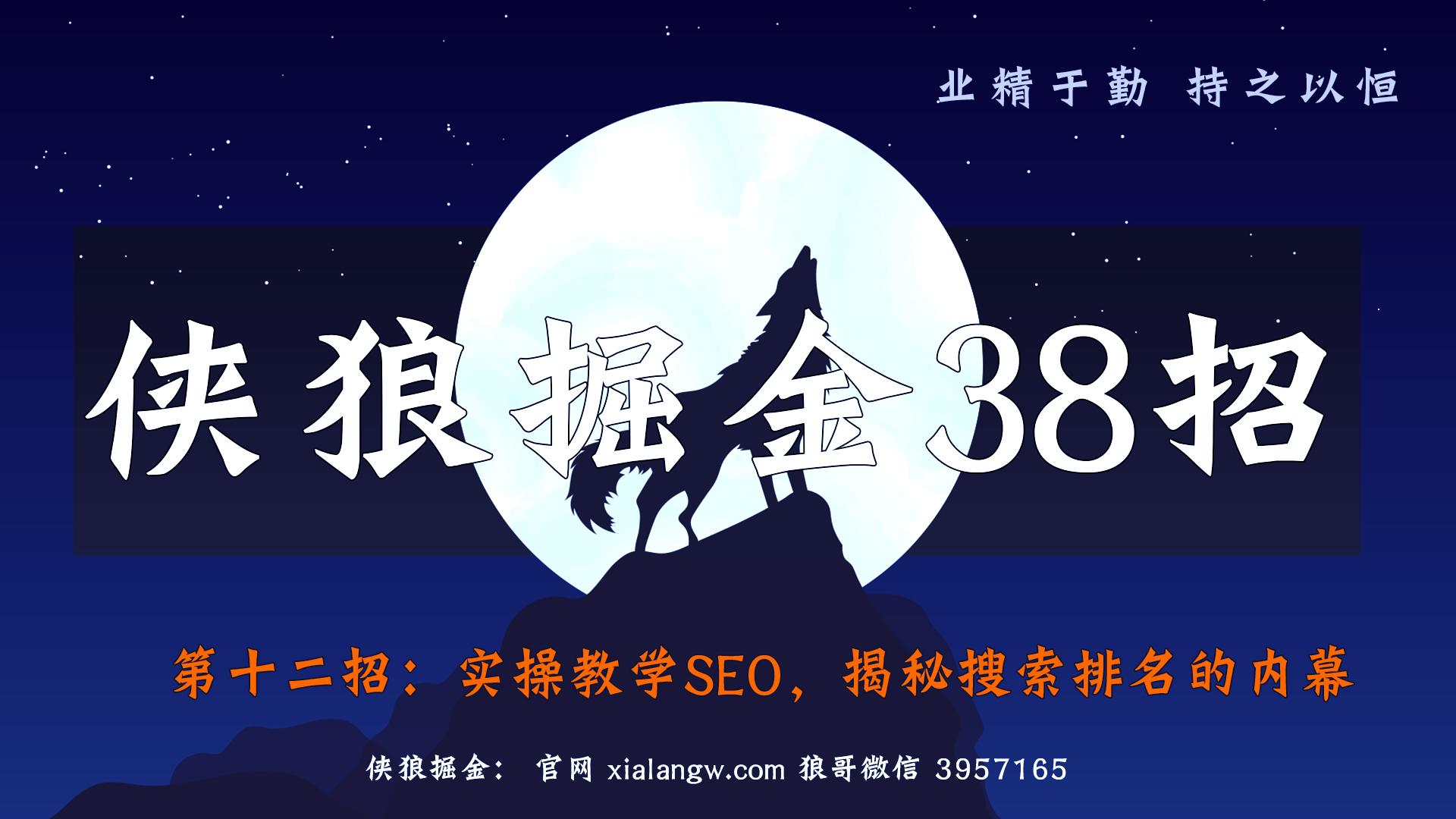 侠狼掘金38招第12招实操教学SEO,揭秘搜索排名的内幕